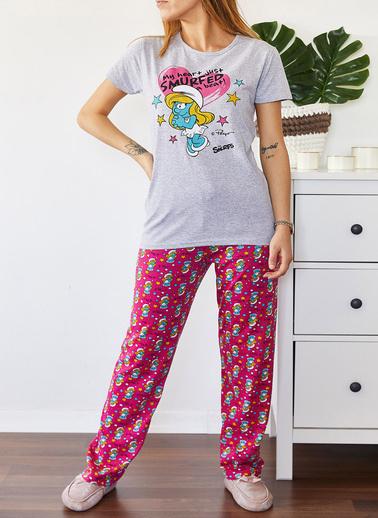 XHAN Baskılı Pijama Takımı 0Yxk8-43690-03 Gri